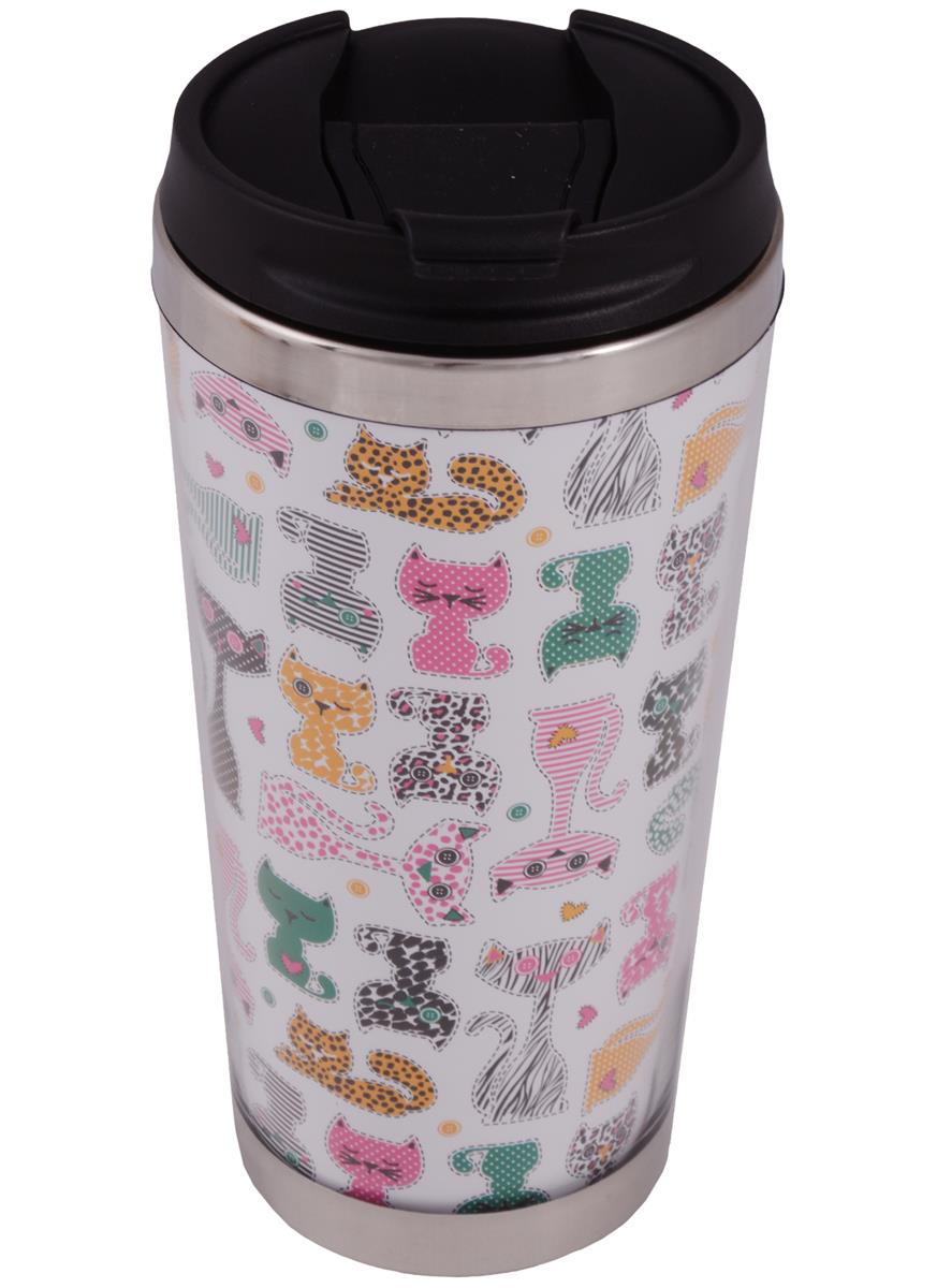 Термостакан Цветные коты (пластик) (400мл)