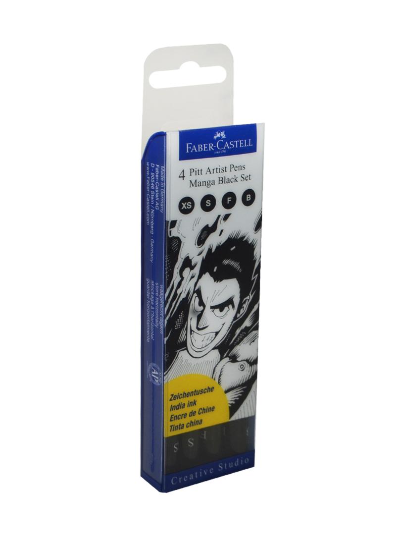 """Ручки-кисточки капиллярные 4шт (XS, S, F, B) профессиональные """"MANGA"""" черные, пл/уп., Faber-Castell"""