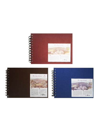 """Скетчбук А5 80л """"Travelling sketchbook""""  слоновая кость, рисов.бумага 130г/м2, горизонтальный, пружина слева, Гознак"""