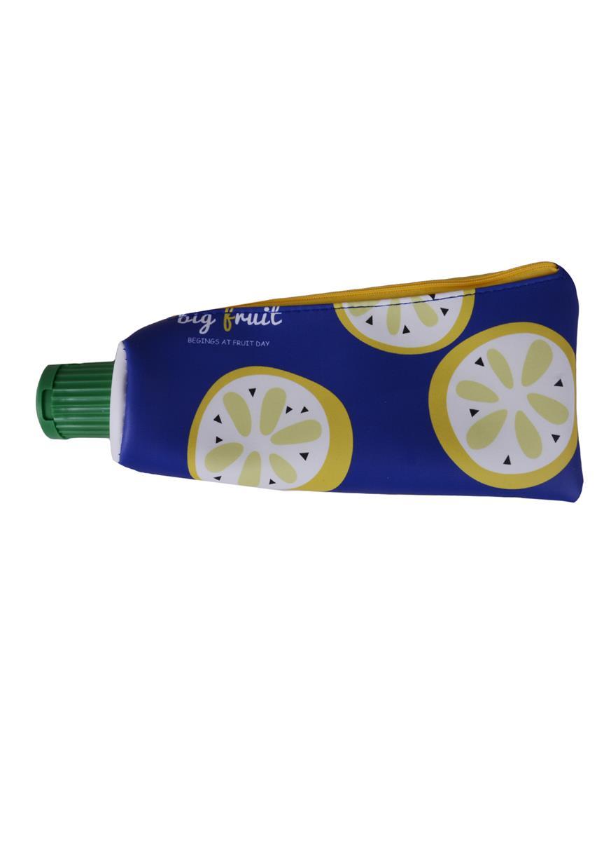 Пенал на молнии Тюбик фрукты с точилкой (26х12) (экокожа) (ПВХ бокс)