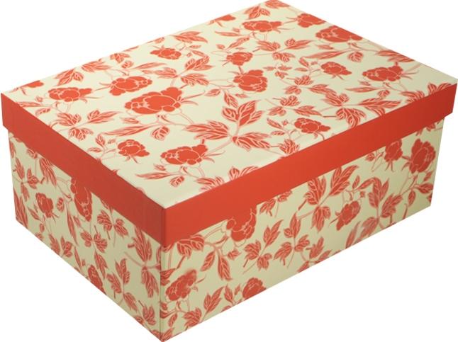 """Коробка подарочная """"Розочки"""" красный с белым 21*14.5*8.5см"""