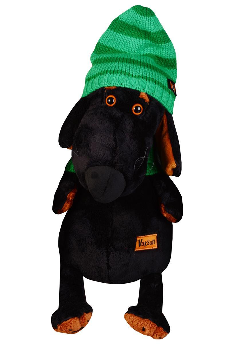 Мягкая игрушка Такса Ваксон в зеленой шапке и шарфе (29 см)