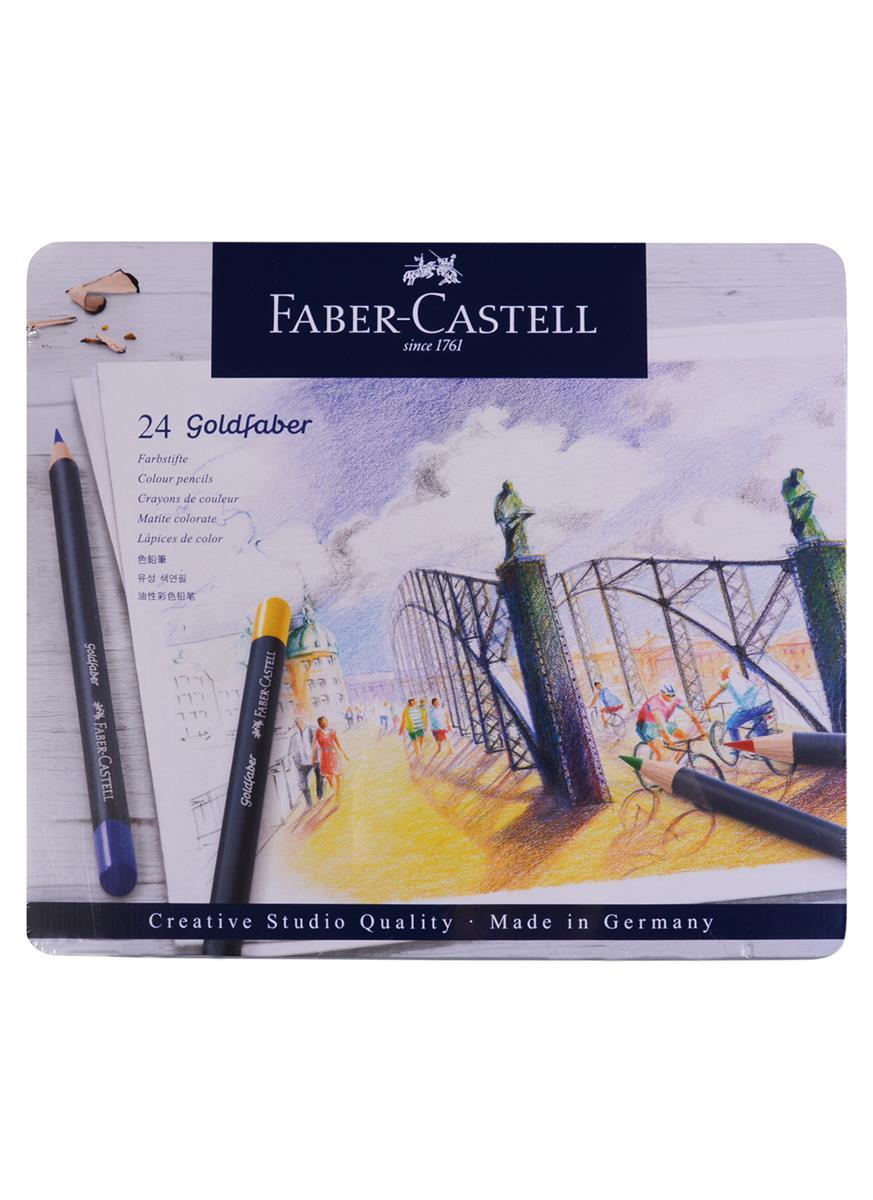 Карандаши цветные 24цв Goldfaber, метал.кор, Faber-Castell
