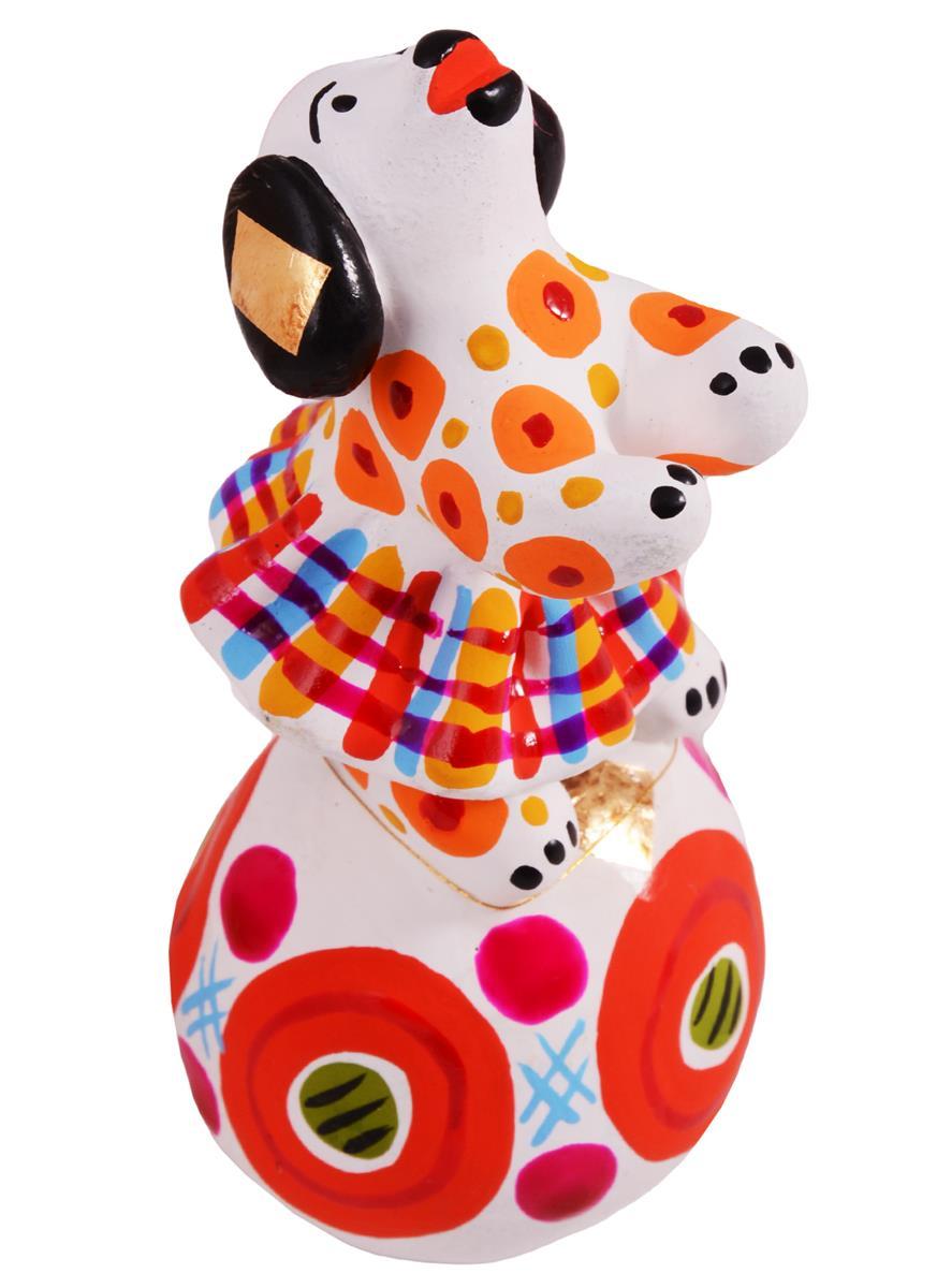 Дымковская игрушка Собачка на шаре