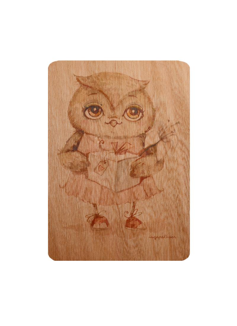 Открытка деревянная Сова Подарочек (Инга Пальцер)