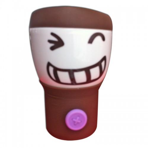 Кружка с силиконовой крышкой Smylie Guy, коричневая (110WG-1-234-1) (Ритейл Айдиа)