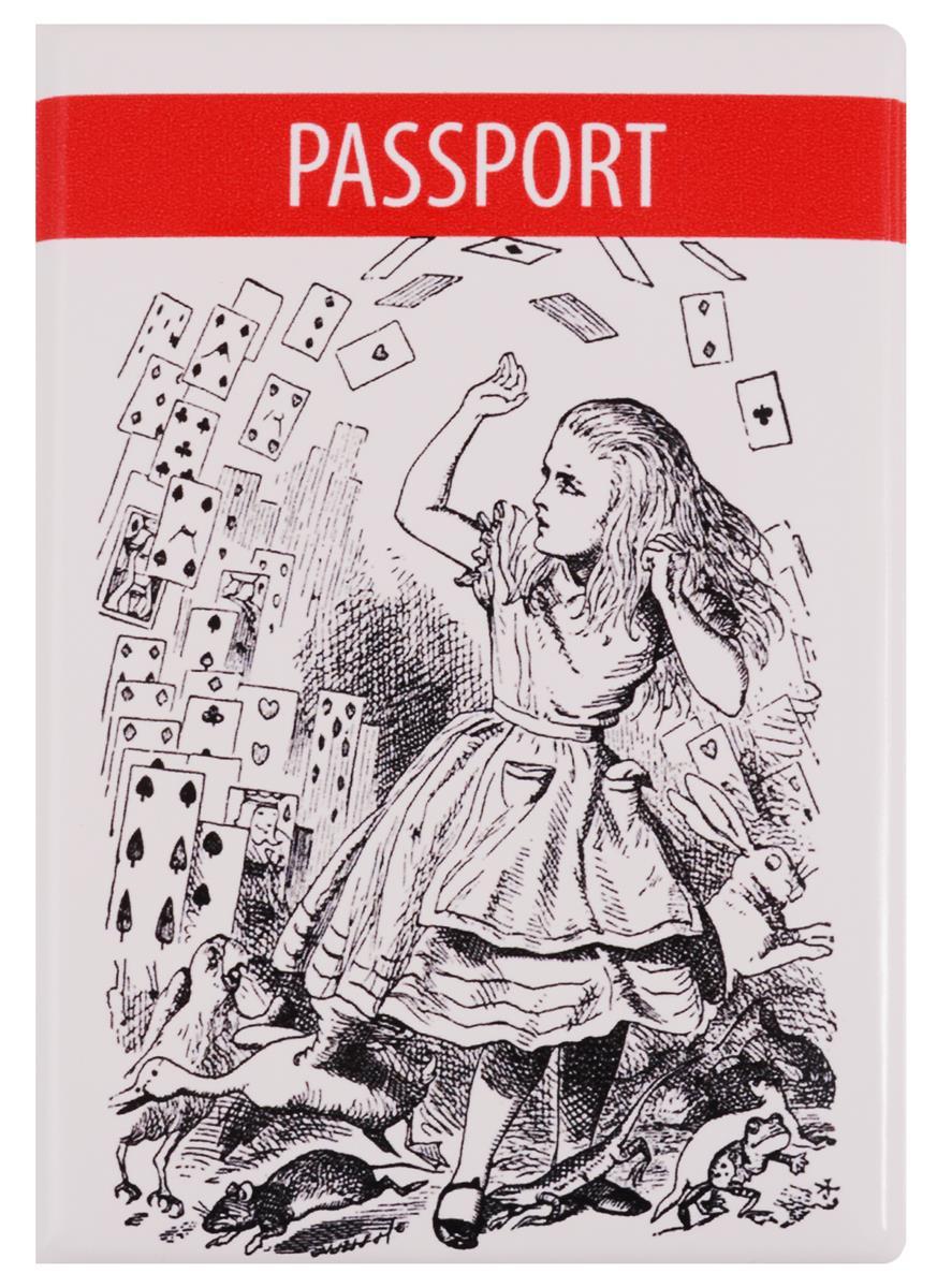 Обложка для паспорта Алиса в стране чудес (Алиса с картами) (ОП2017-174)