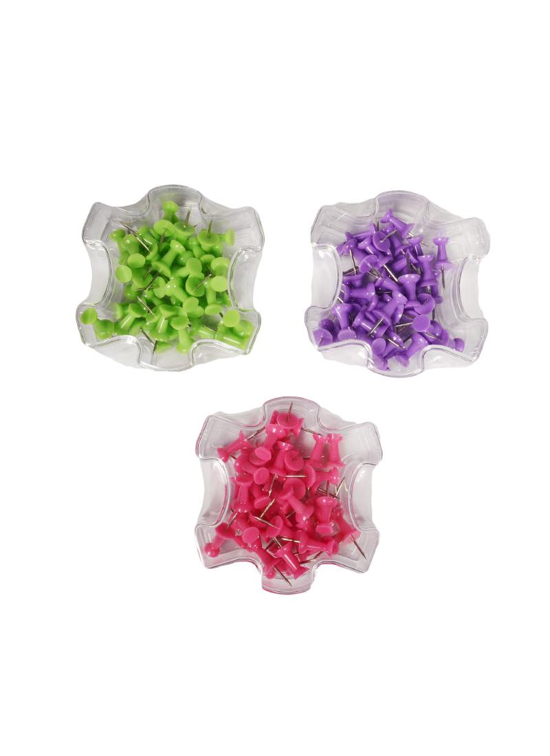 Кнопки-гвоздики 40шт, цветные, пл/уп