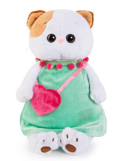 Мягкая игрушка Ли-Ли в мятном платье с розовой сумочкой, 24 см