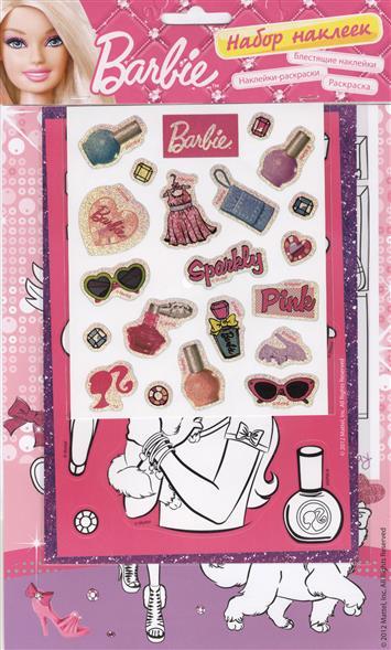 цена на Barbie: блестящие наклейки, наклейки-раскраски, раскраска