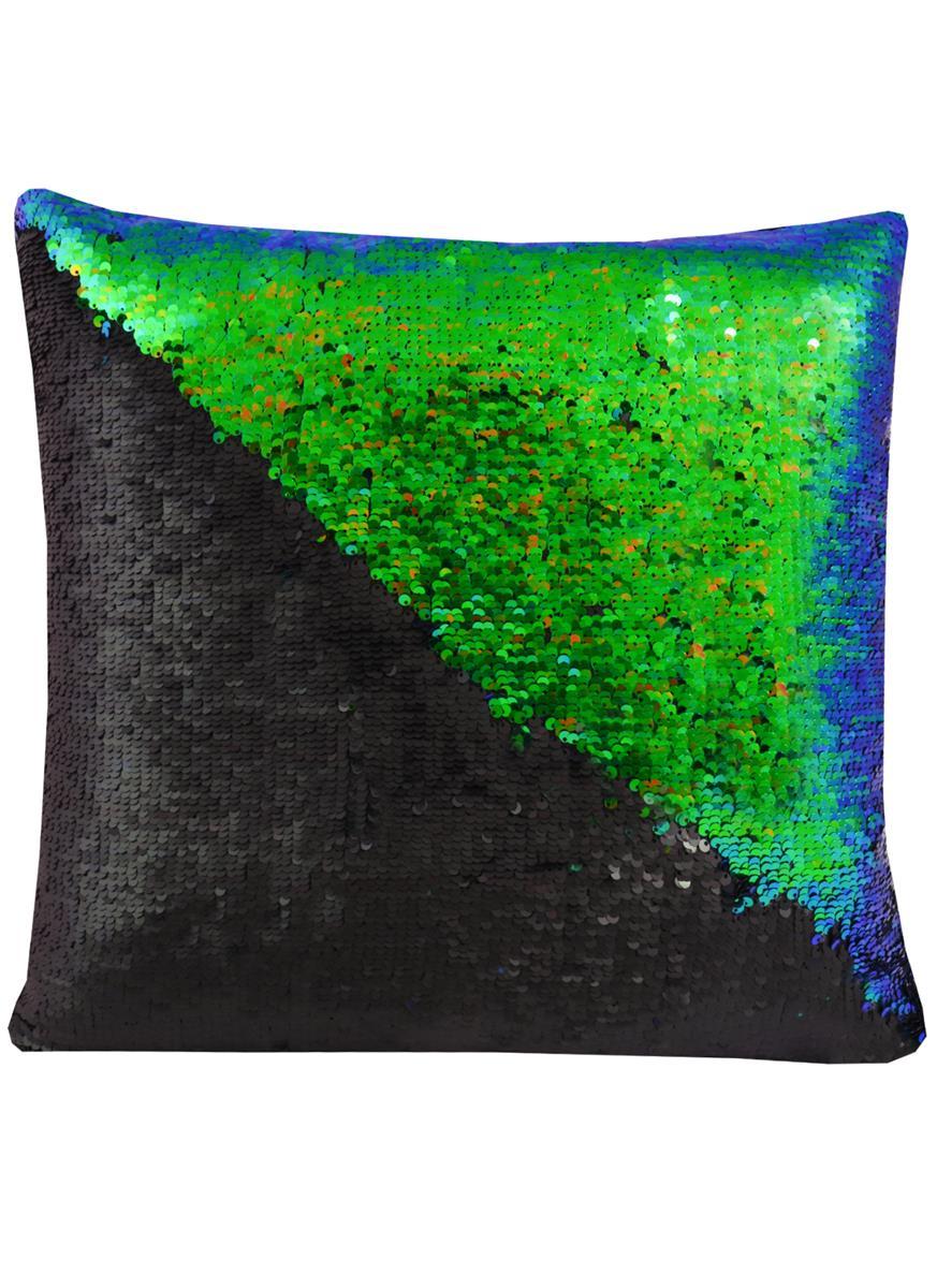 Подушка с пайетками черная с зеленым (37х37)