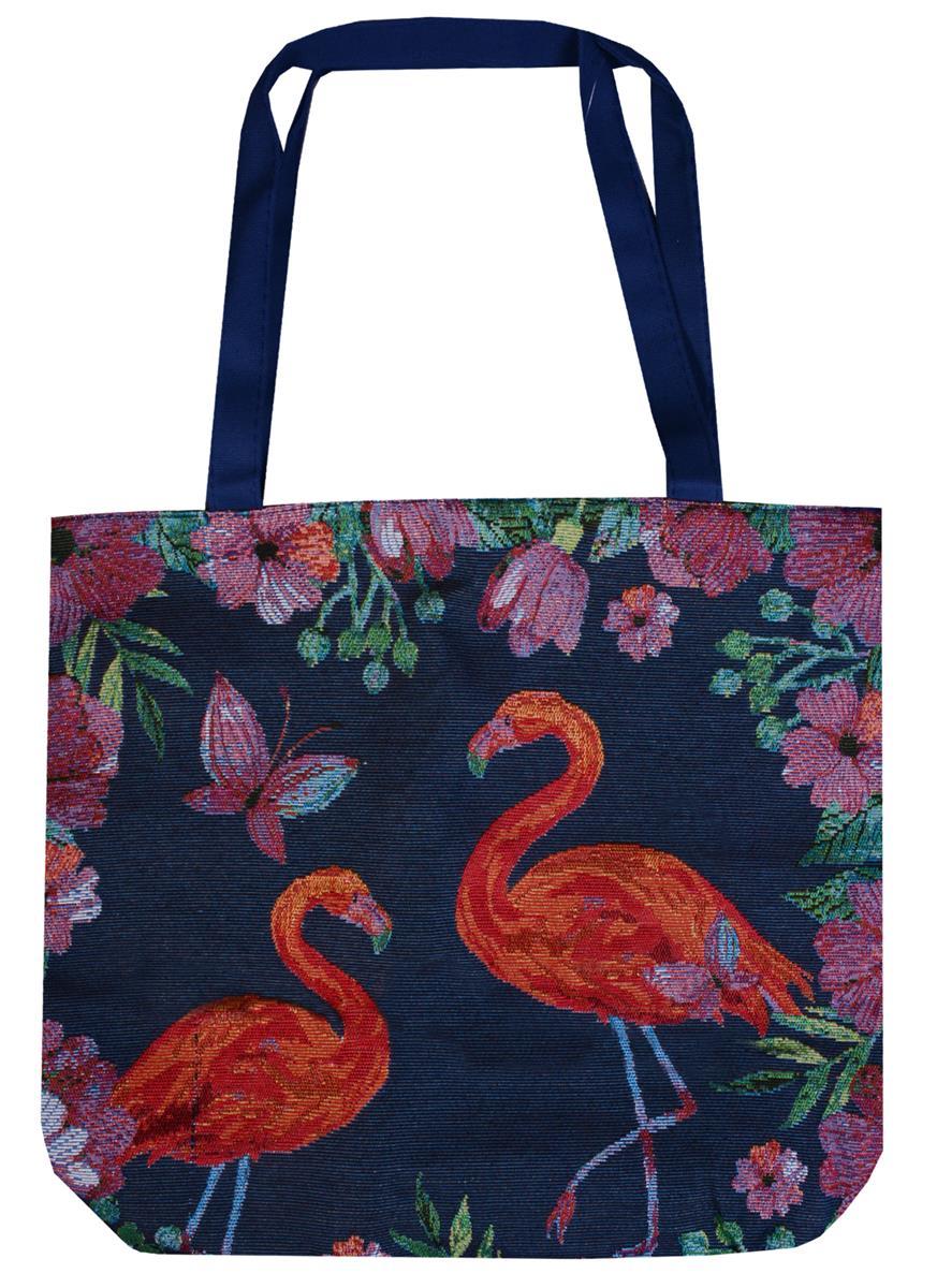 Сумка на молнии Фламинго из цветов (43х40) (текстиль)