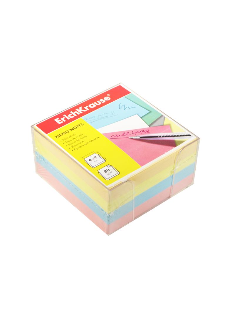 Блок для заметок цветной 9*9*4,5 см, в боксе, Erich Krause