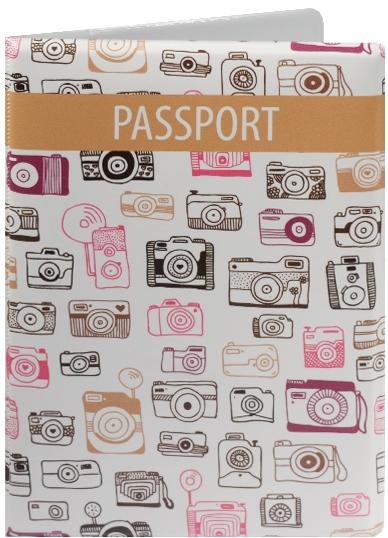 """Обложка для паспорта """"Фотоаппараты"""", белая"""