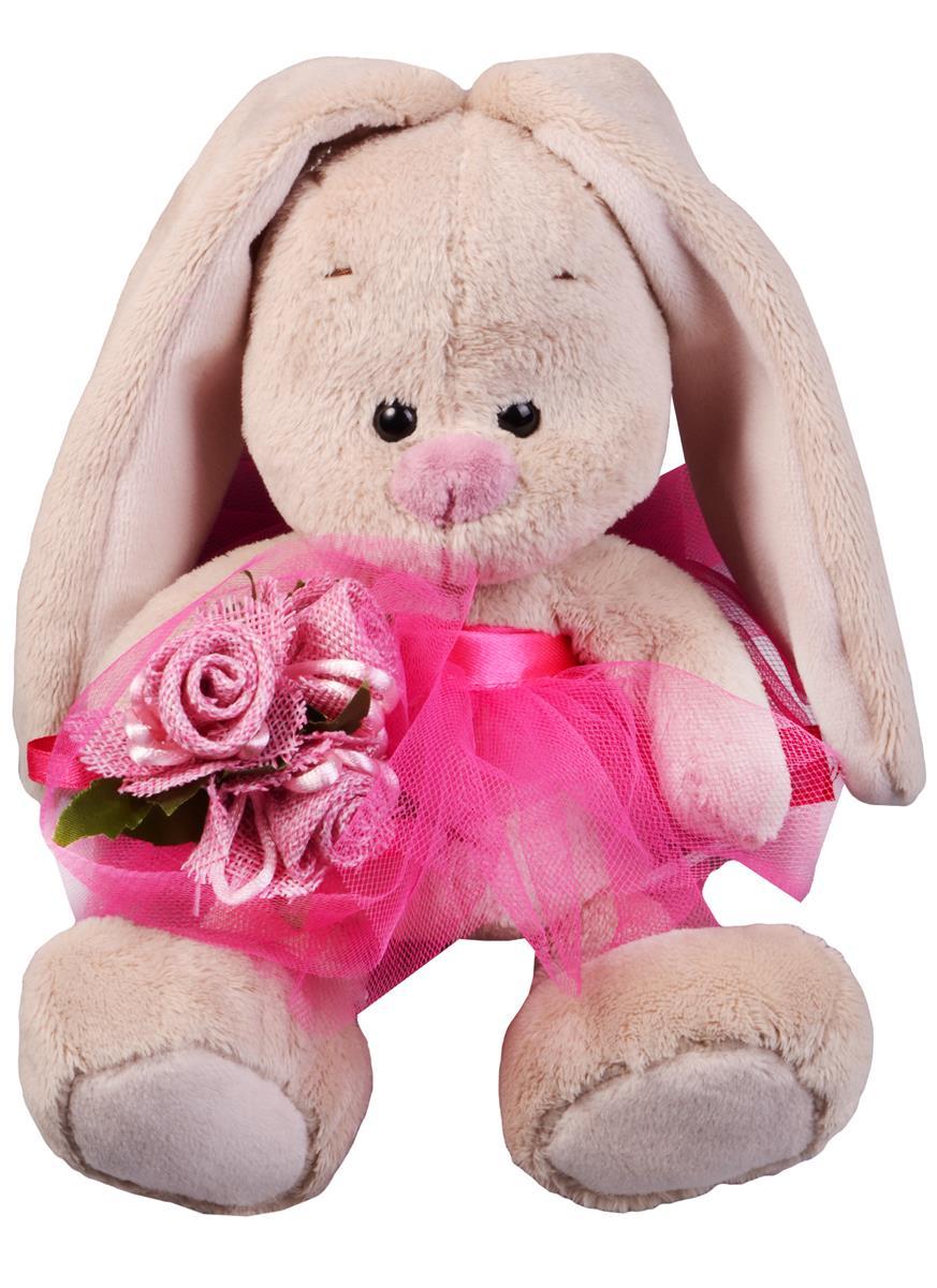 Мягкая игрушка Зайка Ми в розовой юбочке и с букетом (15 см)