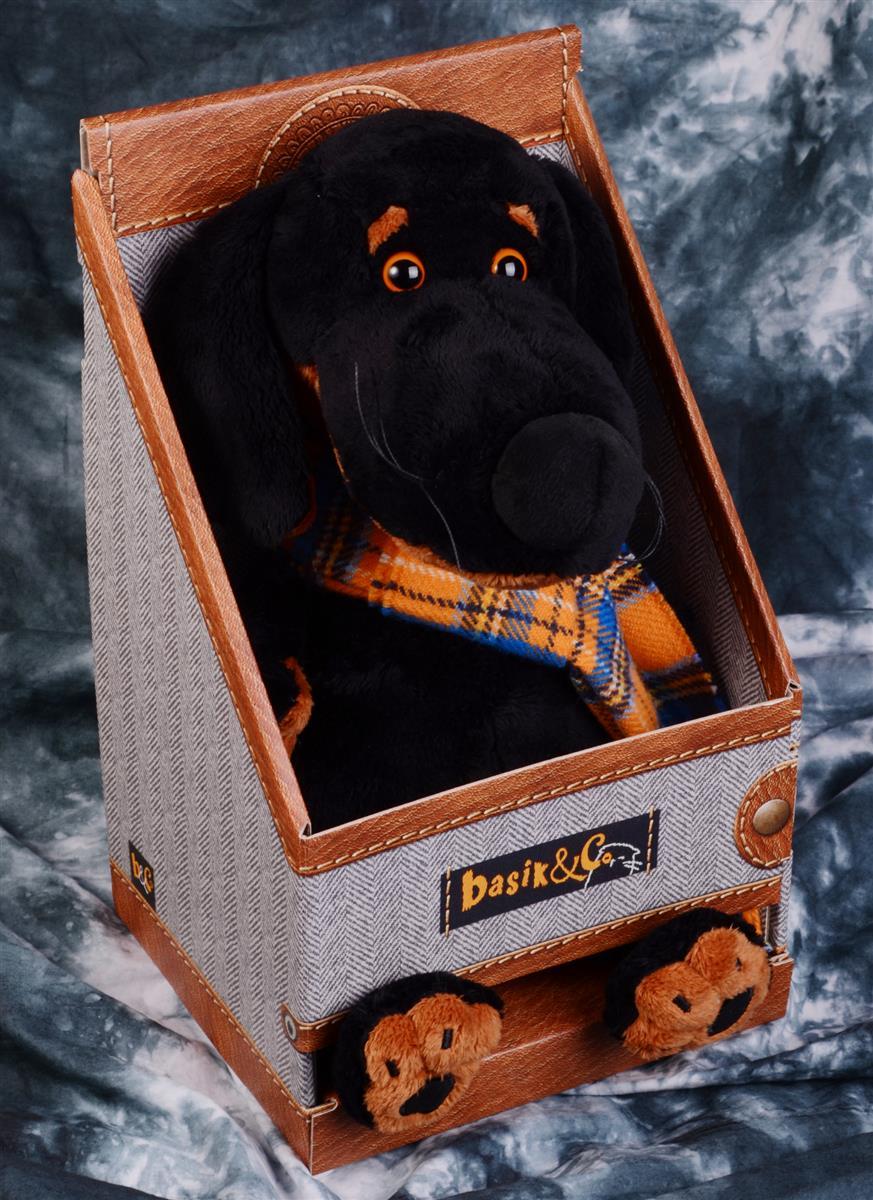 Мягкая игрушка Такса Ваксон в шарфе (29 см)