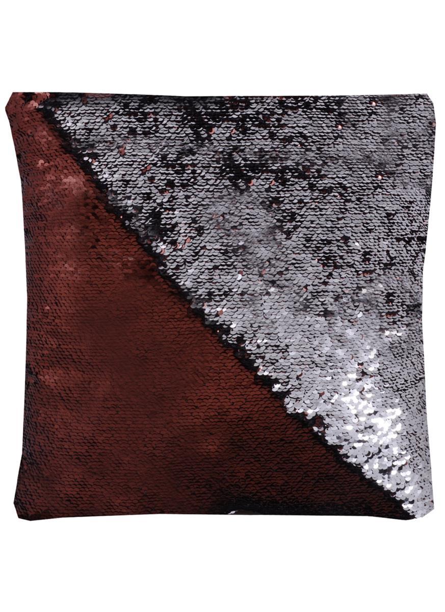 Подушка с пайетками шоколад с серебром (37х37)