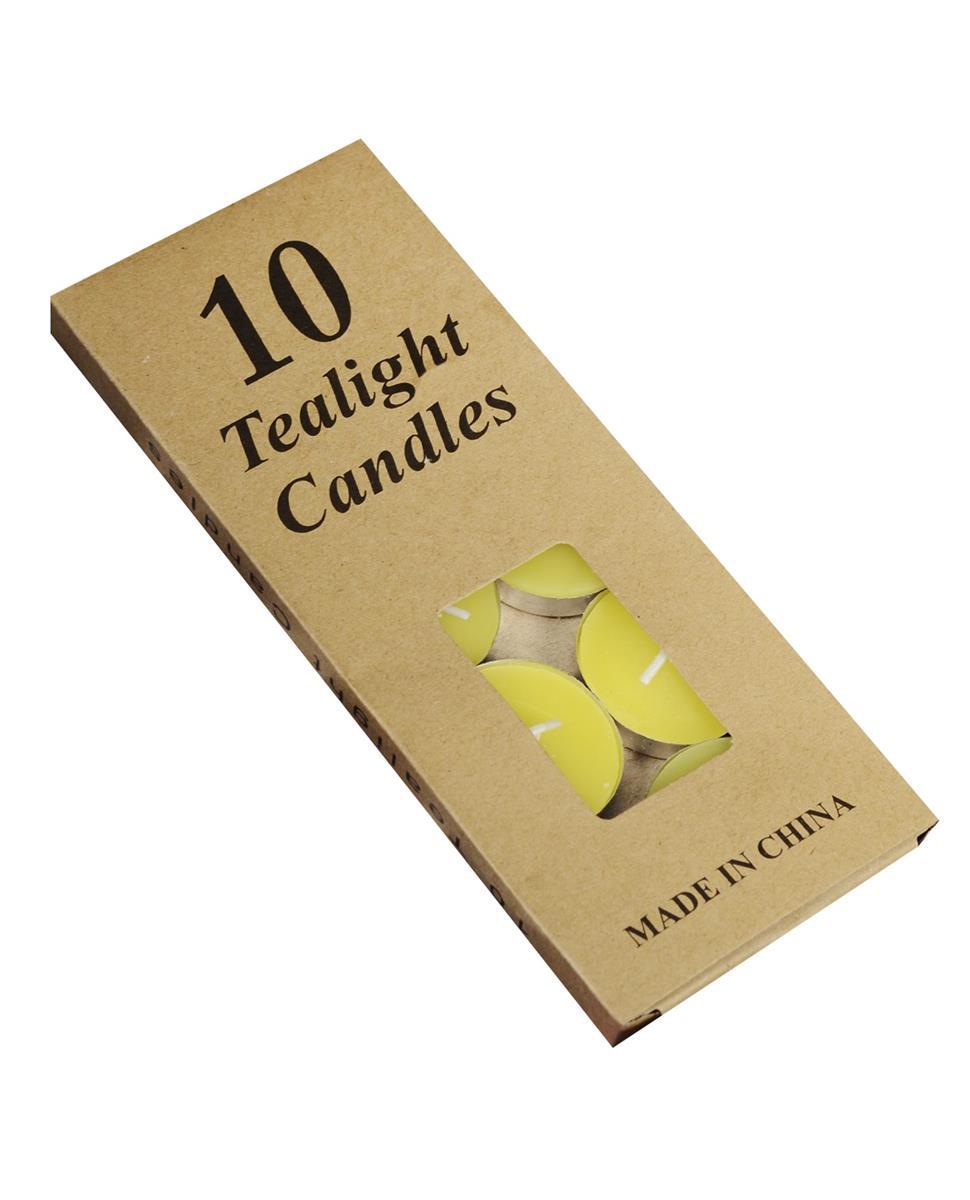 Набор чайных свечей в крафт коробке (10шт) (желтые)