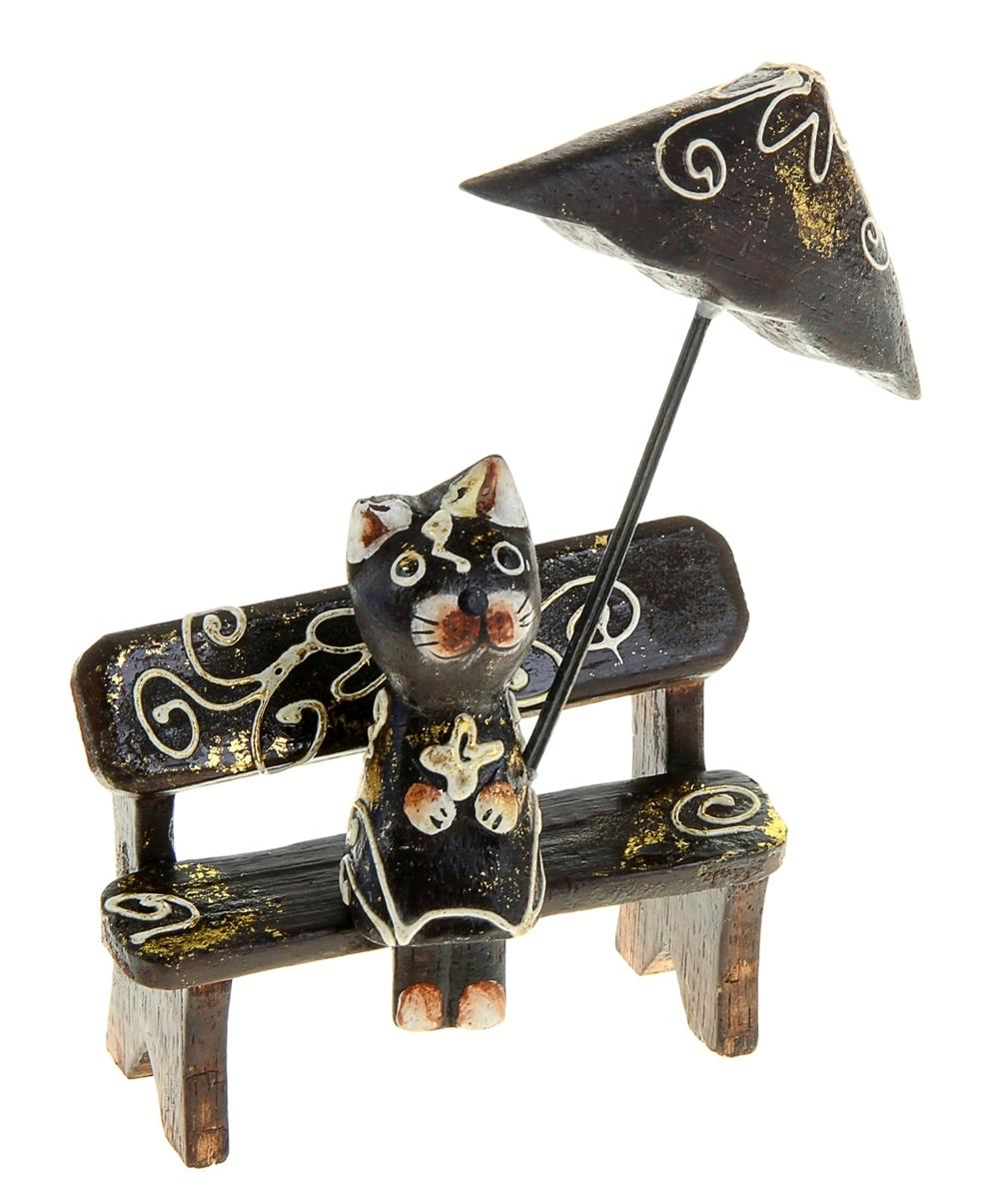Сувенир дерево Кошка на скамейке с зонтом (18 см)