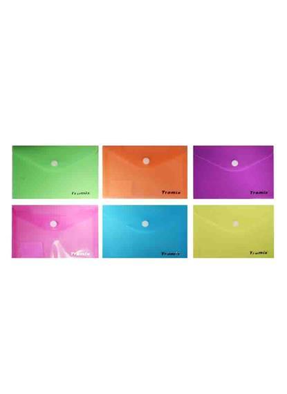 Папка-конверт А7 на кнопке, НЕОН, пластик 0,18мм, ассорти, Tramix
