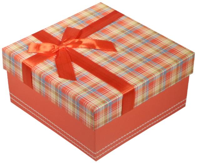 """Коробка подарочная """"Клетка красная"""", 15*15*7,5см"""