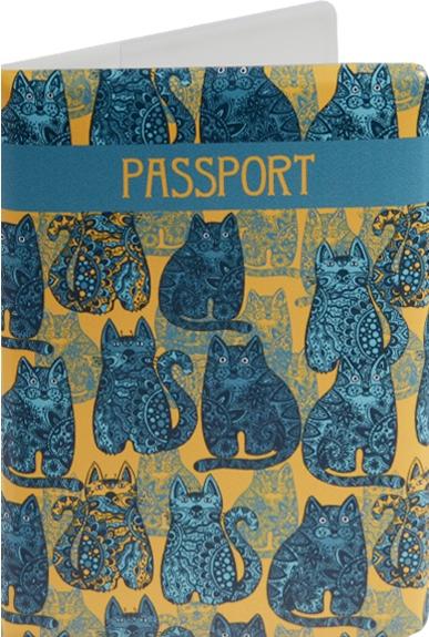 """Обложка для паспорта """"Синие коты на желтом фоне"""""""