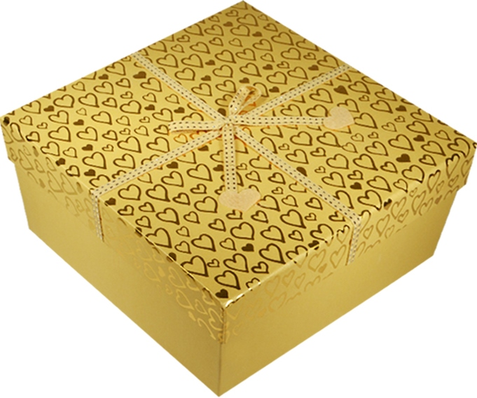 "Коробка подарочная ""Фетровые сердечки"" желтый металлик 22*22*10см"