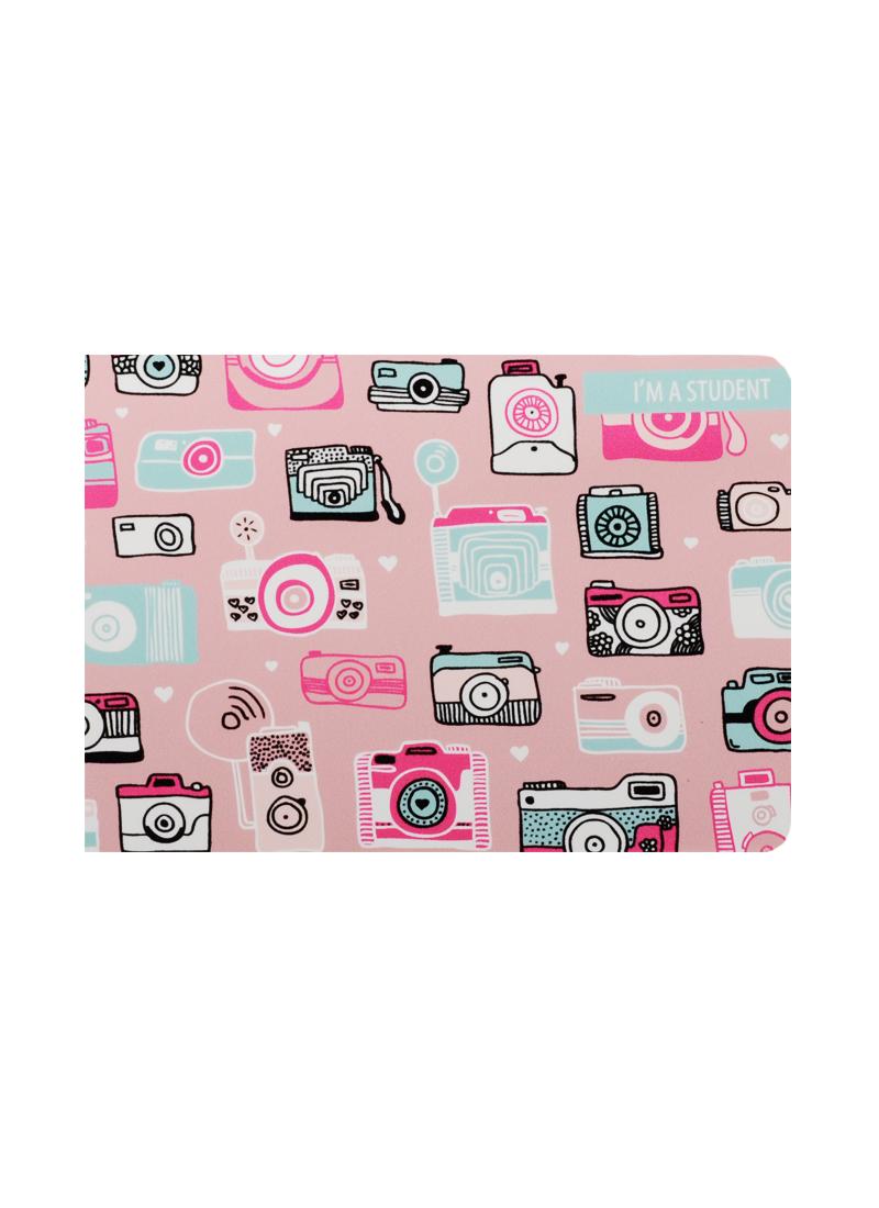 Обложка для студенческого Фотоаппарат на розовом фоне