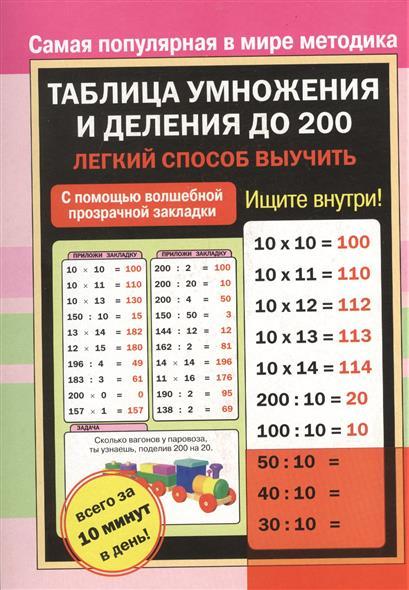 Таблица умножения и деления до 200. Легкий способ выучить