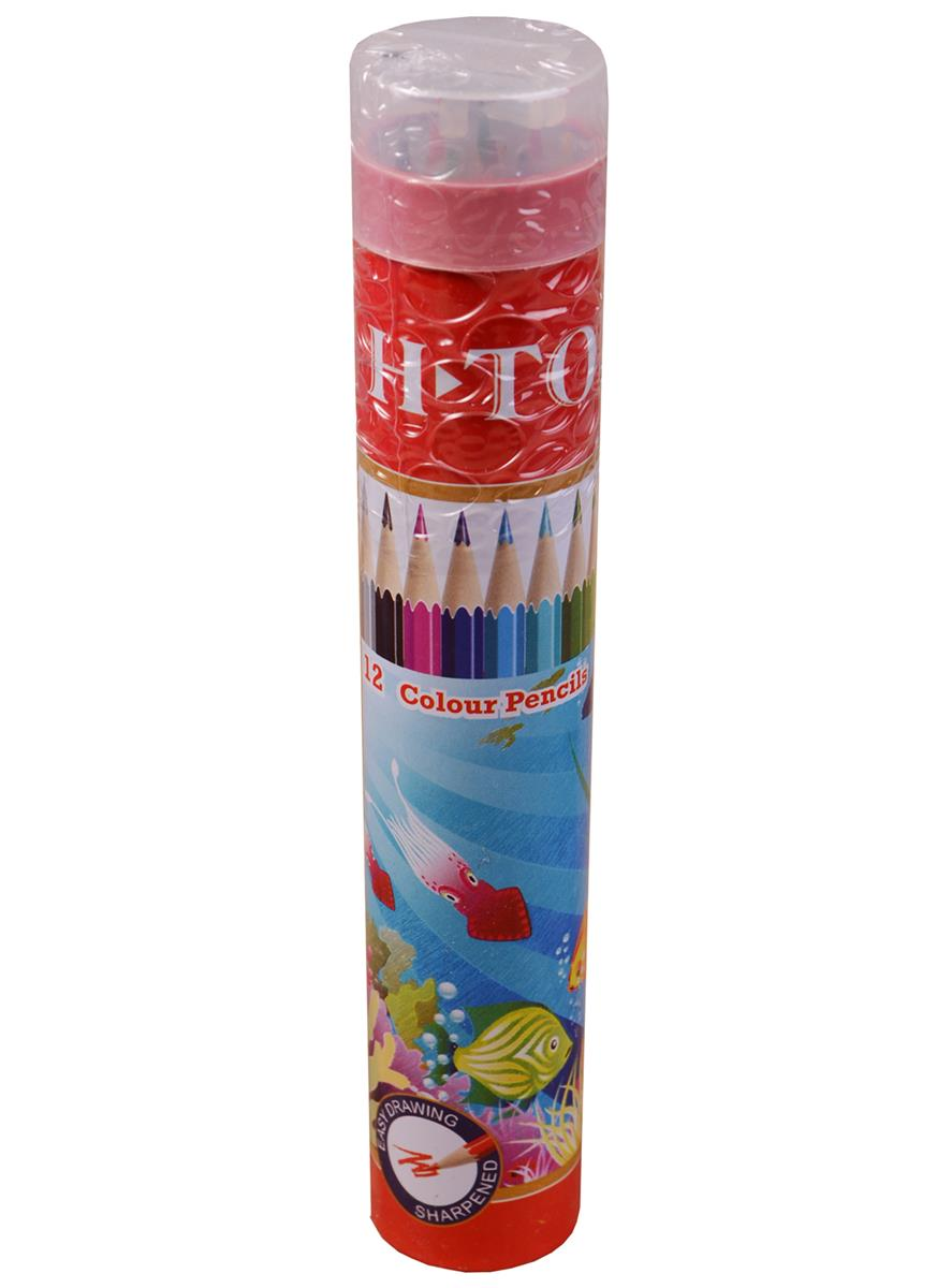 Карандаши цветные 12цв, в мет.тубусе с точилкой, Art idea