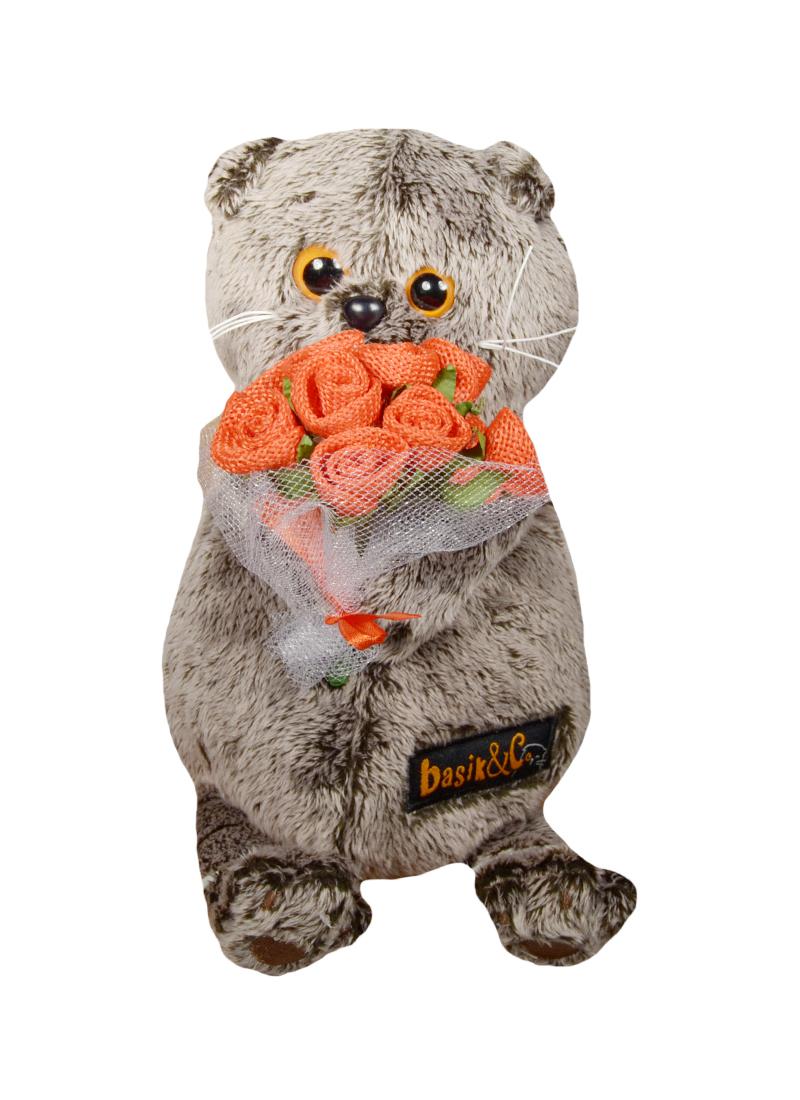 Мягкая игрушка Басик с букетиком роз (19 см) (Ks19-046)