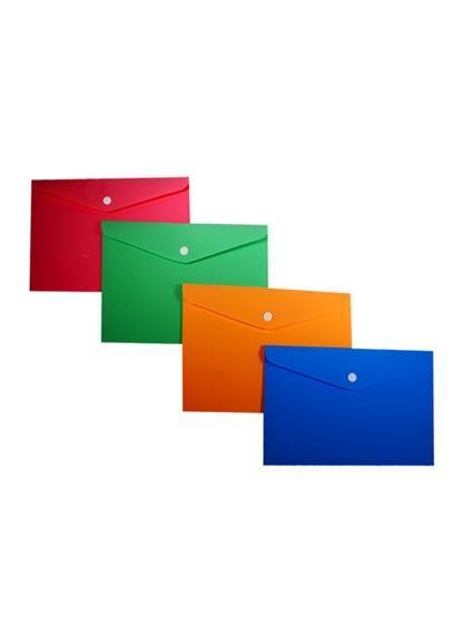 Папка-конверт А5 на кнопке, пластик 0,35мм, ассорти, Sworld