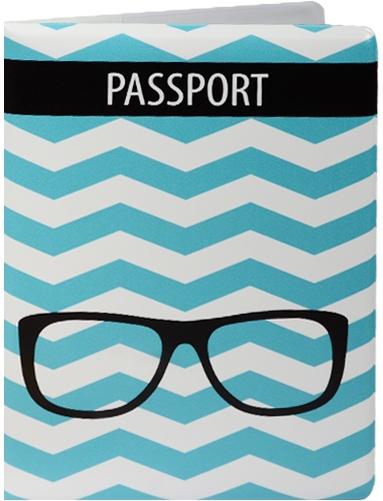 """Обложка для паспорта """"Зигзаг бирюзовый с очками"""""""