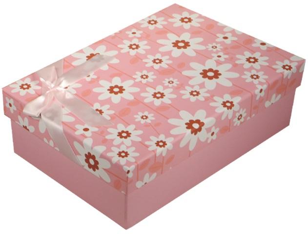 "Коробка подарочная ""Ромашки"" розовая, 24*17*8см"