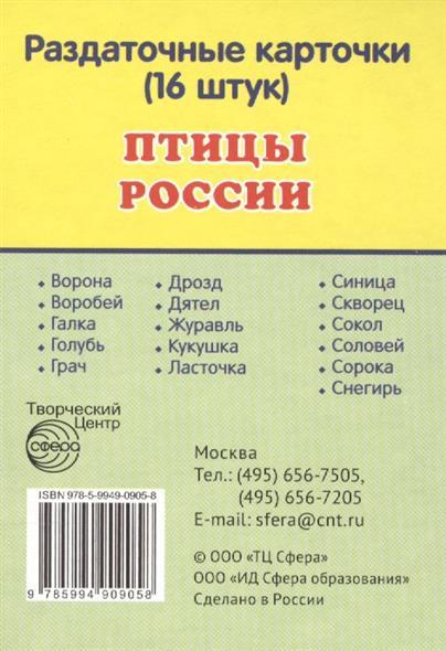 Птицы России. Раздаточные карточки (16 штук)