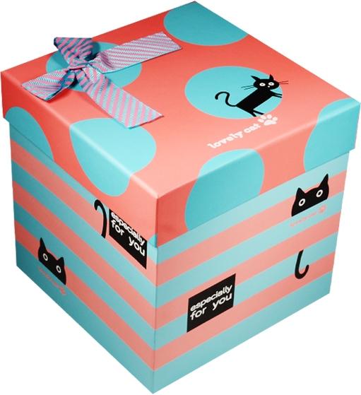 """Коробка подарочная """"Cat"""" розовая с голубым 12,5*12,5*12,5см"""