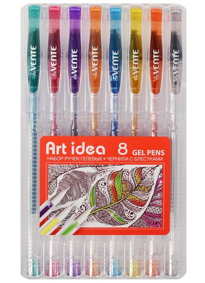 Ручки гелевые 08цв 1,0мм глиттер, пл/уп, подвес, Art idea