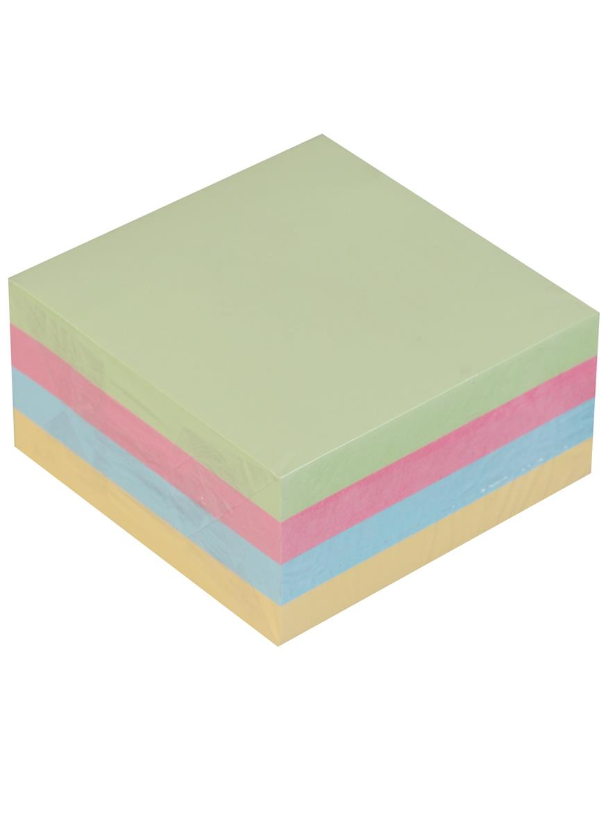 Блок бумаги 75*75 самоклеящийся, пастель 4 цвета, 400 листов