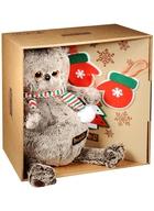 Мягкая игрушка Басик с набором елочных игрушек (25 см)