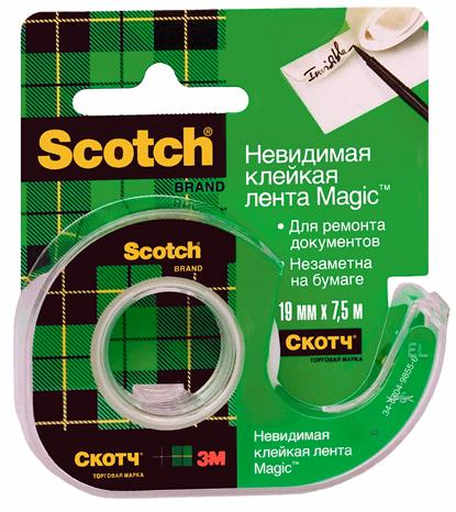 Лента клейкая невидимая MAGIC, 19мм*7,5м, Scotch