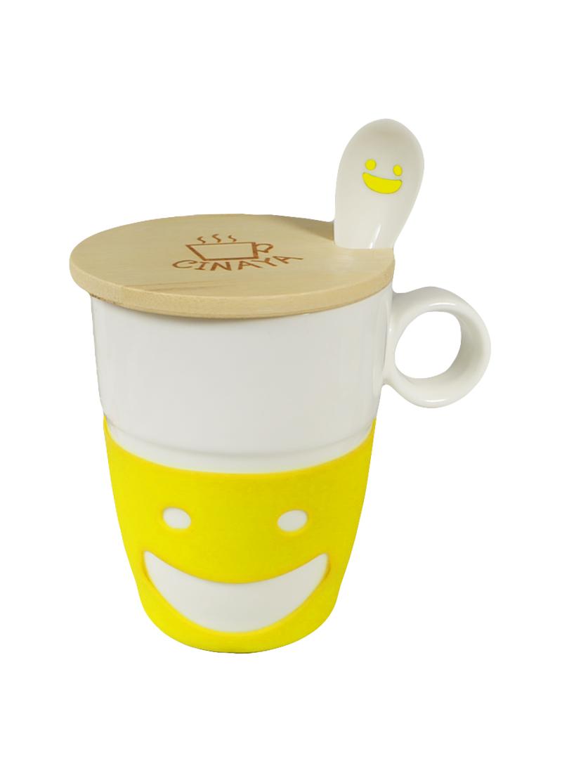 """Кружка """"Улыбка"""" с ложкой, бамбуковой крышкой, с желтой силиконовой вставкой (002952) (Карамба)"""