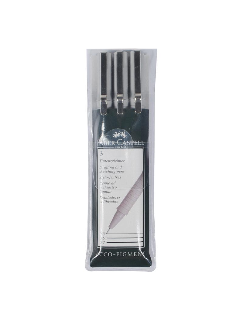 """Ручки капиллярные черные 3шт (0.4, 0.6, 0.8мм) """"ECCO PIGMENT"""", пластм. пенал, Faber-Castell"""