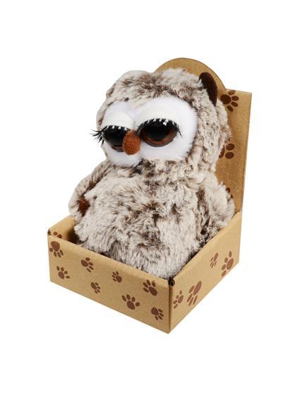 Сова с ресничками коричневая в крафт коробке