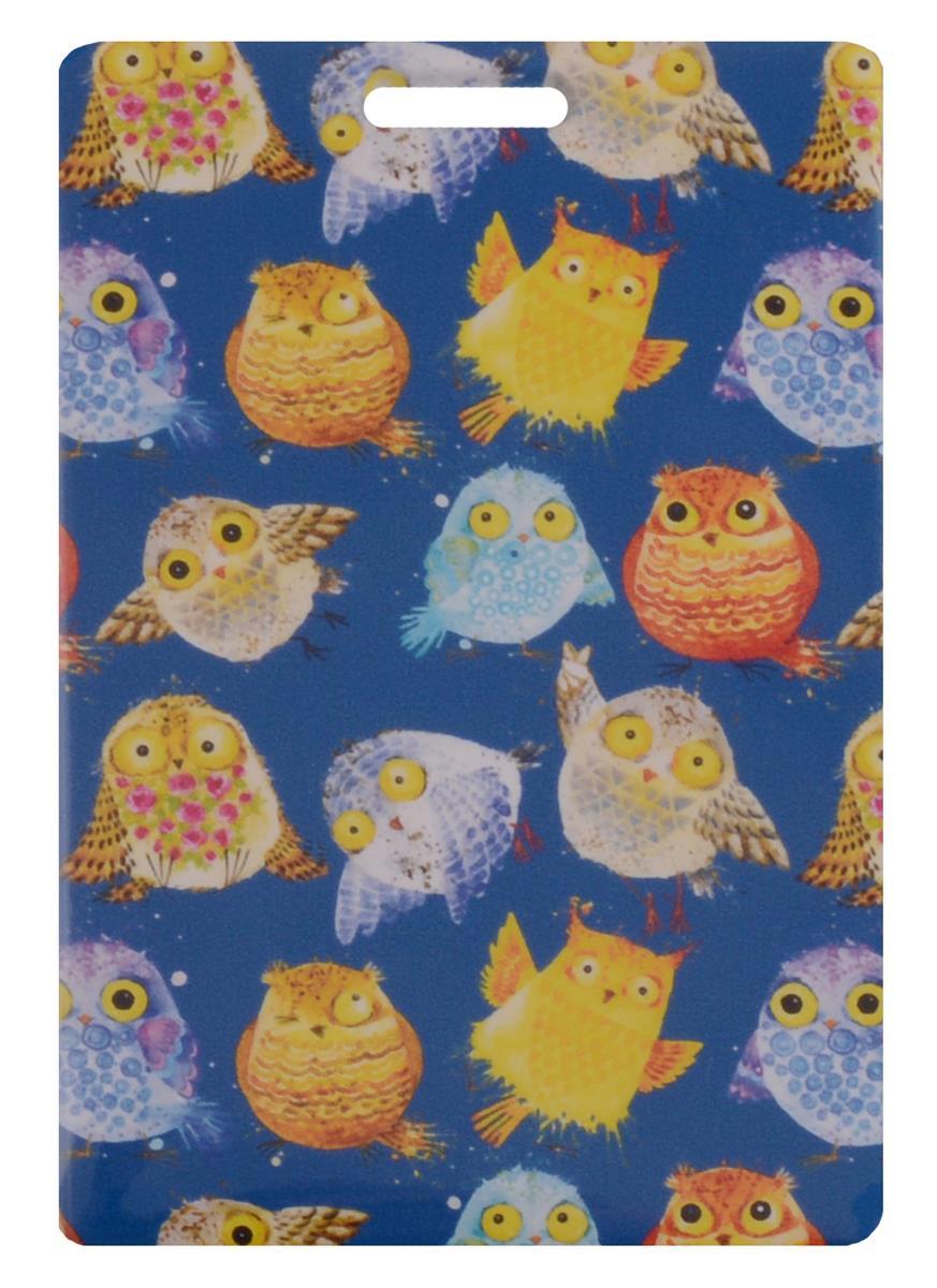 Чехол для карточек Цветные совы на синем фоне