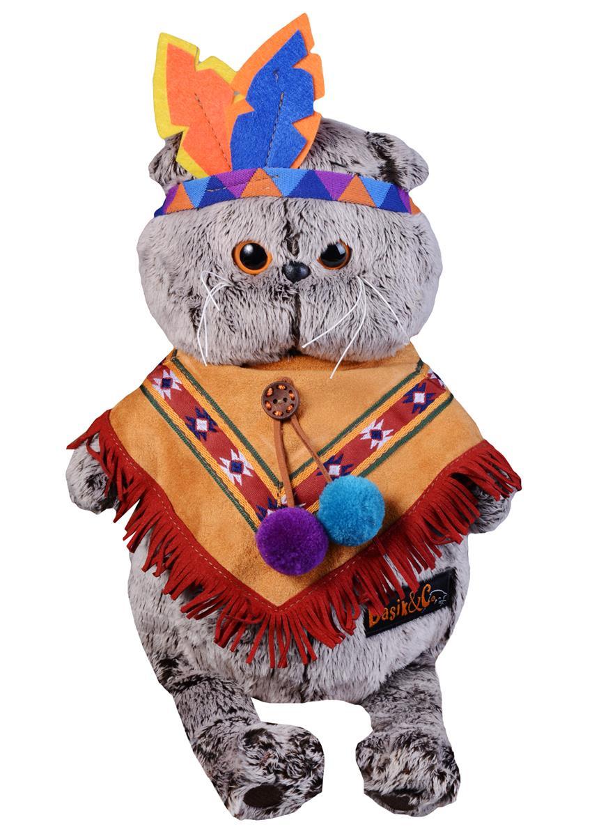 Мягкая игрушка Басик в костюме индейца (22 см)