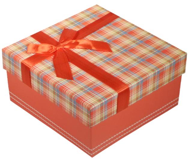 """Коробка подарочная """"Клетка красная"""", 13*13*6см"""