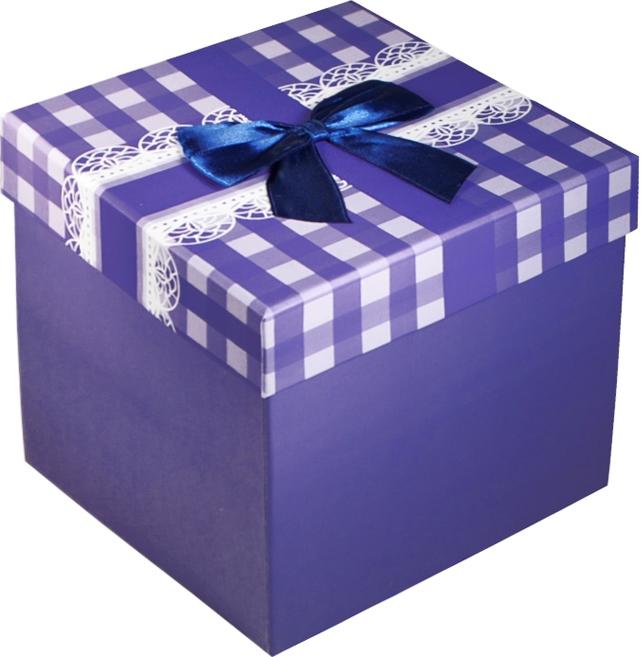 """Коробка подарочная """"Бант на синей клетке"""" 16*16*16см"""