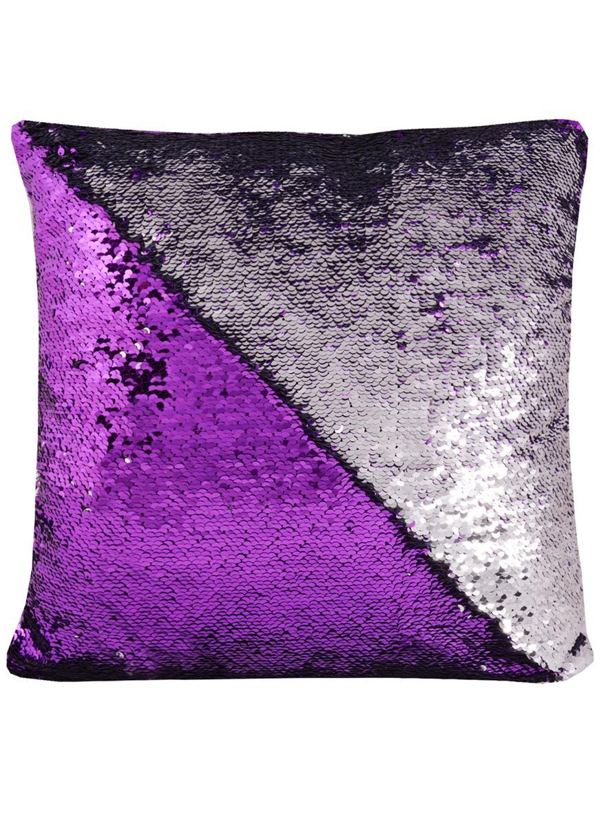 Подушка с пайетками фиолетовая с серебром (37х37)