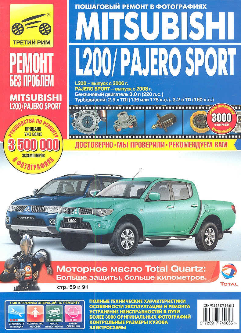 Чащин Д., Захаров Н., Архипов Л. Mitsubishi L200/Pajero Sport. L200 - выпуск с 2006 г., Pajero Sport - выпуск с 2008 г. Бензиновый двигатель 3.0 л. (220 л.с.). Турбодизели: 2.5 л. TDI (136 или 178 л.с.), 3.2 л. TD (160 л.с.) Руководство по эксплуатации, тех. обсл. и ремонту в фотографиях двигатель бензиновый 17 л с lifan 192fd 7а