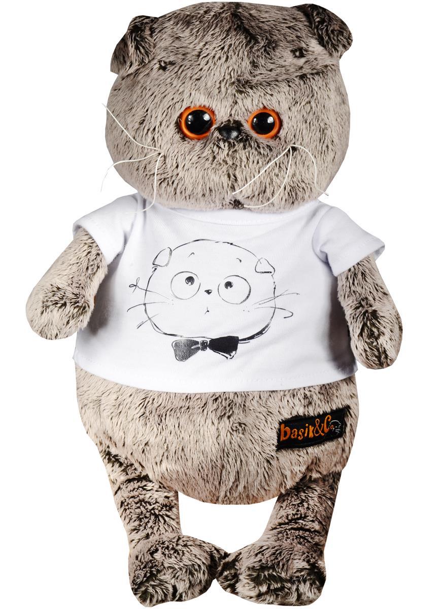 Мягкая игрушка Басик в футболке с принтом Мордочка Басика (25 см)